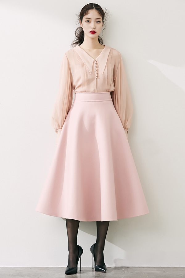 PINK CASHMERE WOOL BLEND FLARE SKIRT