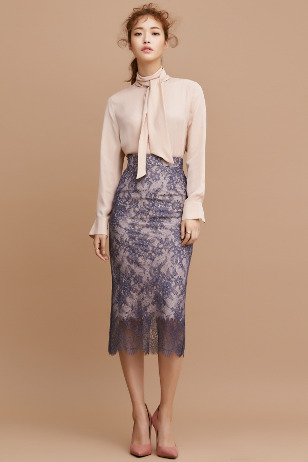 GREY TWO TONE LACE PENCIL SKIRT