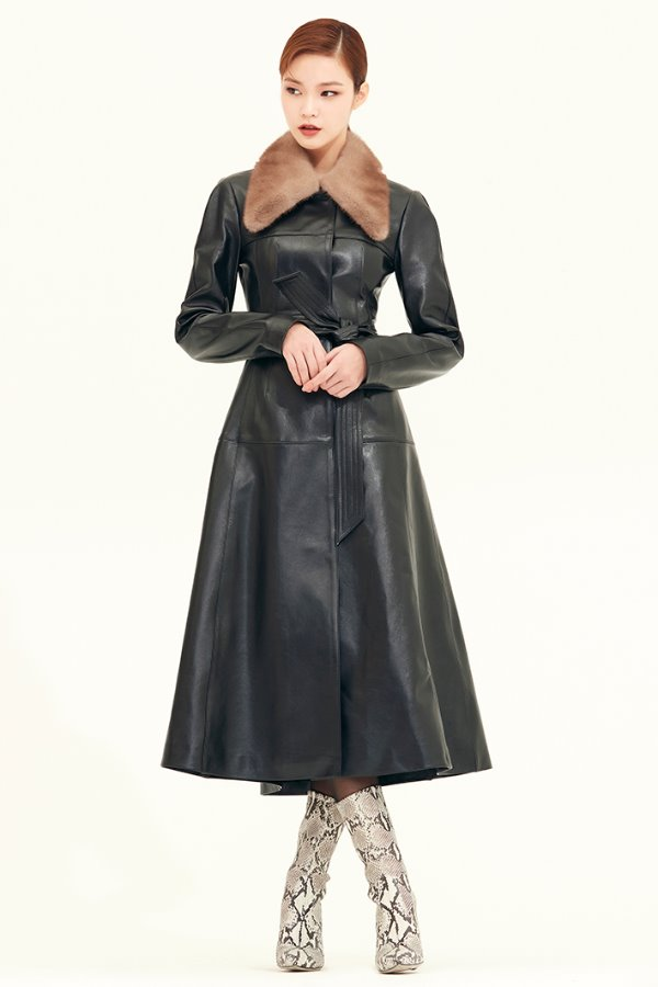 LEATHER FLARE LONG COAT