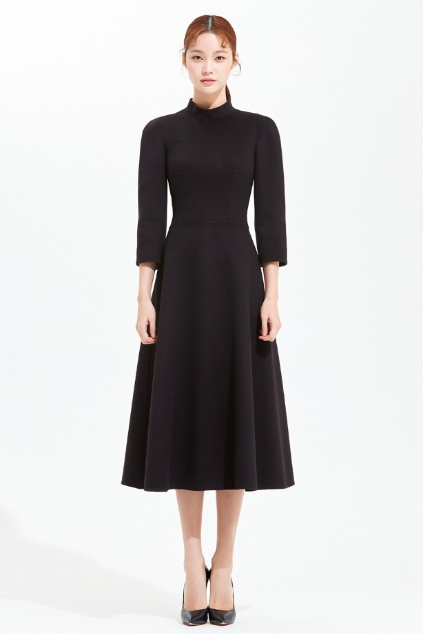 CASHMERE STAND COLLAR FLARE DRESS